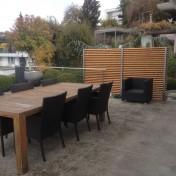 Blickfang Terrasse A2 Lärche Boden- und Wandbefestigung