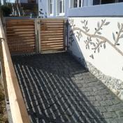 Gartenzaun mit Schräge und Türe (6)